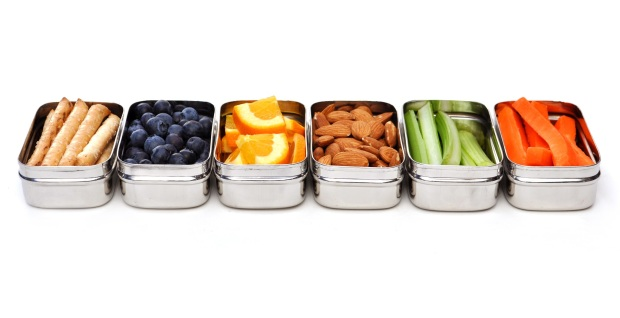 ECOlunchpods hold 1/2 cup food. They are great for packing snacks and sides.